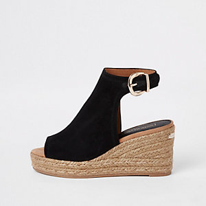 Black espadrille platform wedges