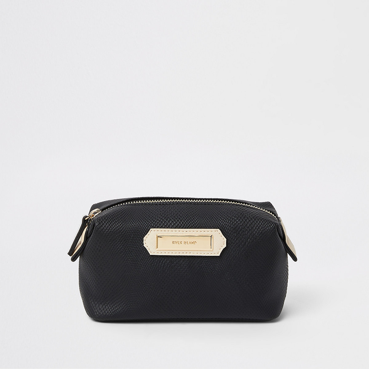 Black zip top makeup bag