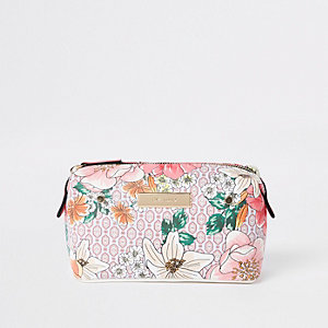 Pink floral zip top makeup bag
