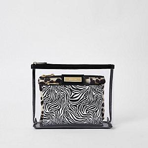 Black perspex inner pouch makeup bag