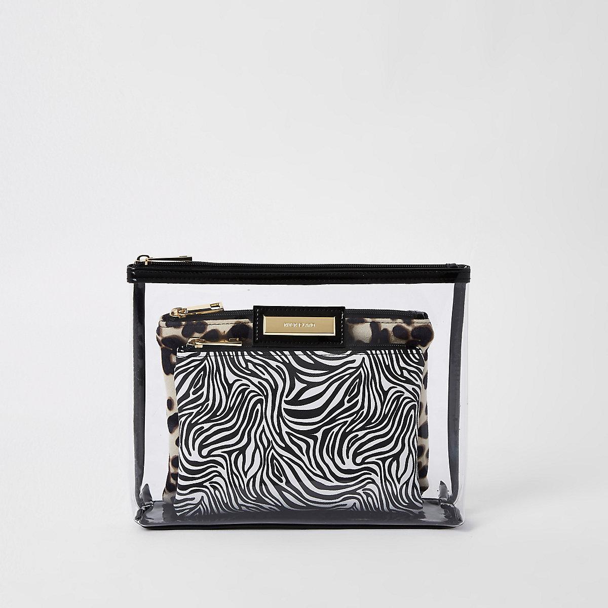Black perspex inner pouch makeup bag