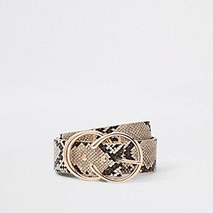 Beige jeansriem met dubbele ring en slangenprint