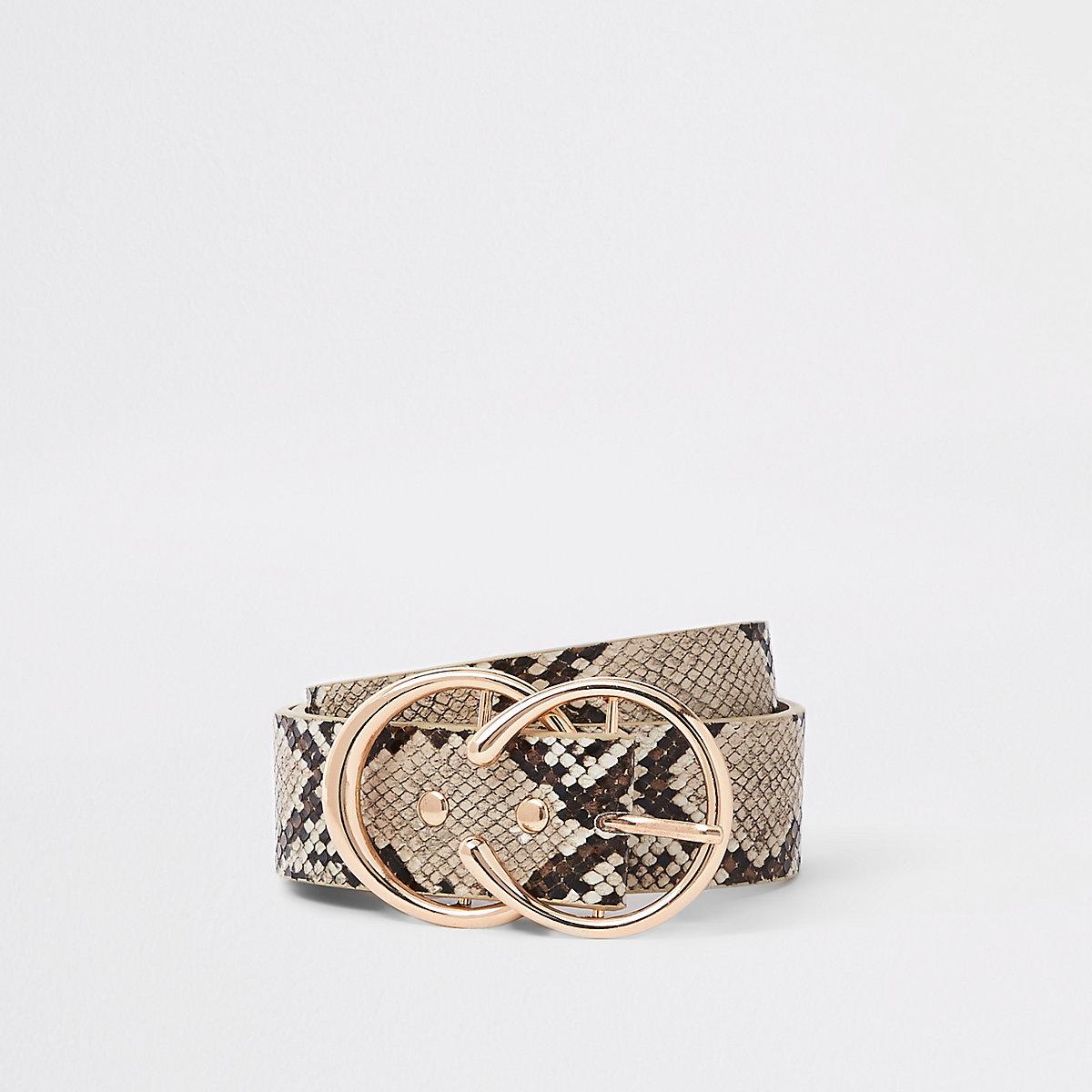 Beige snake print double circle jeans belt
