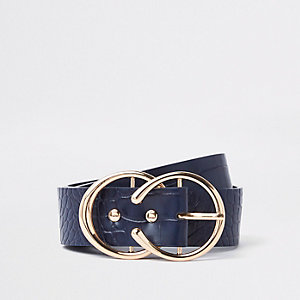 Navy croc embossed double ring horseshoe belt