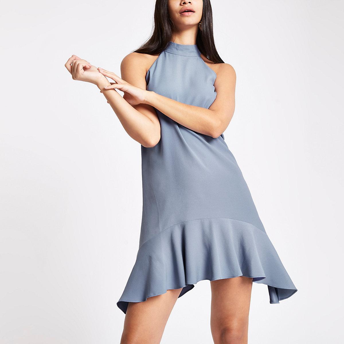 Light blue halter neck swing dress