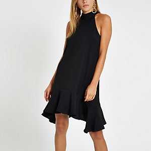 Black frill hem halter neck swing dress
