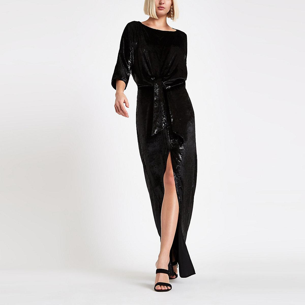 Black velvet knot front split maxi dress