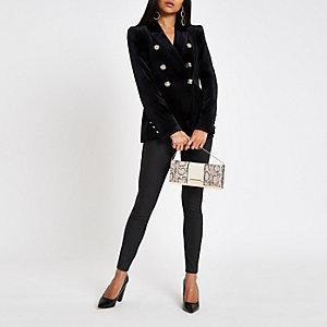 Petite black velvet tux jacket