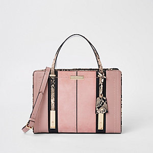 Light pink contrast snake panel tote bag