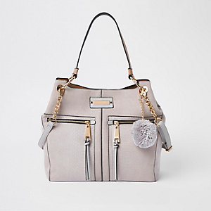 Light grey pocket front slouch bag