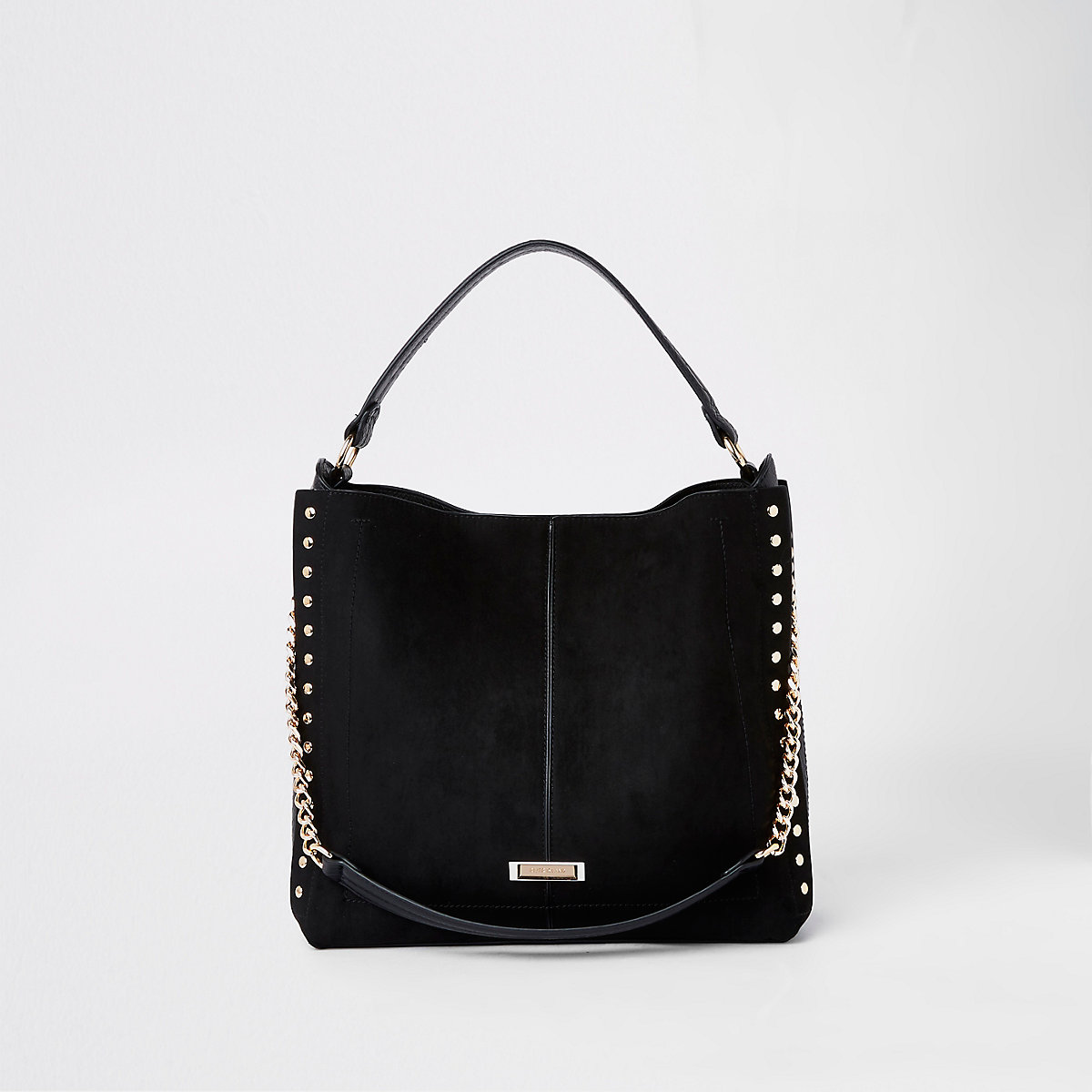 Black studded side slouch bag