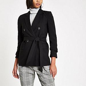 Black tie waist ruched sleeve blazer