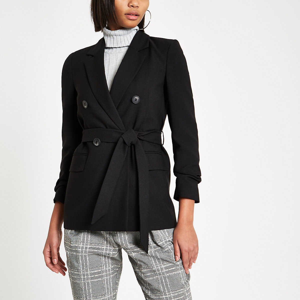 Black tie waist ruched sleeve blazer