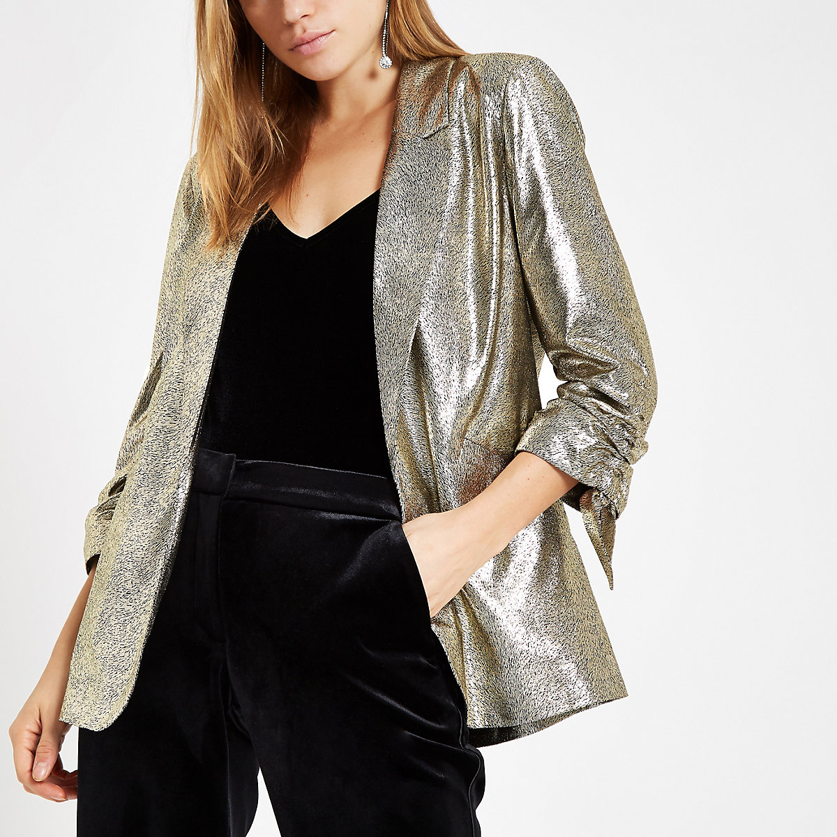 Gold metallic ruched sleeve blazer