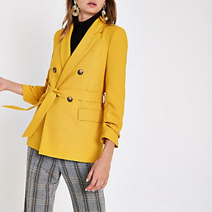 Yellow tie waist ruched sleeve blazer