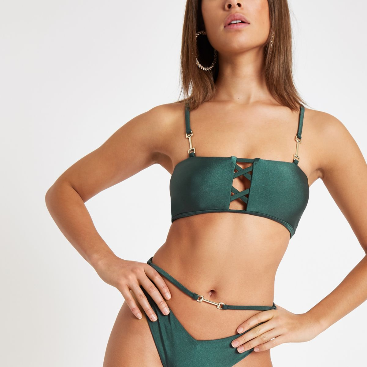 Green lattice front bikini top