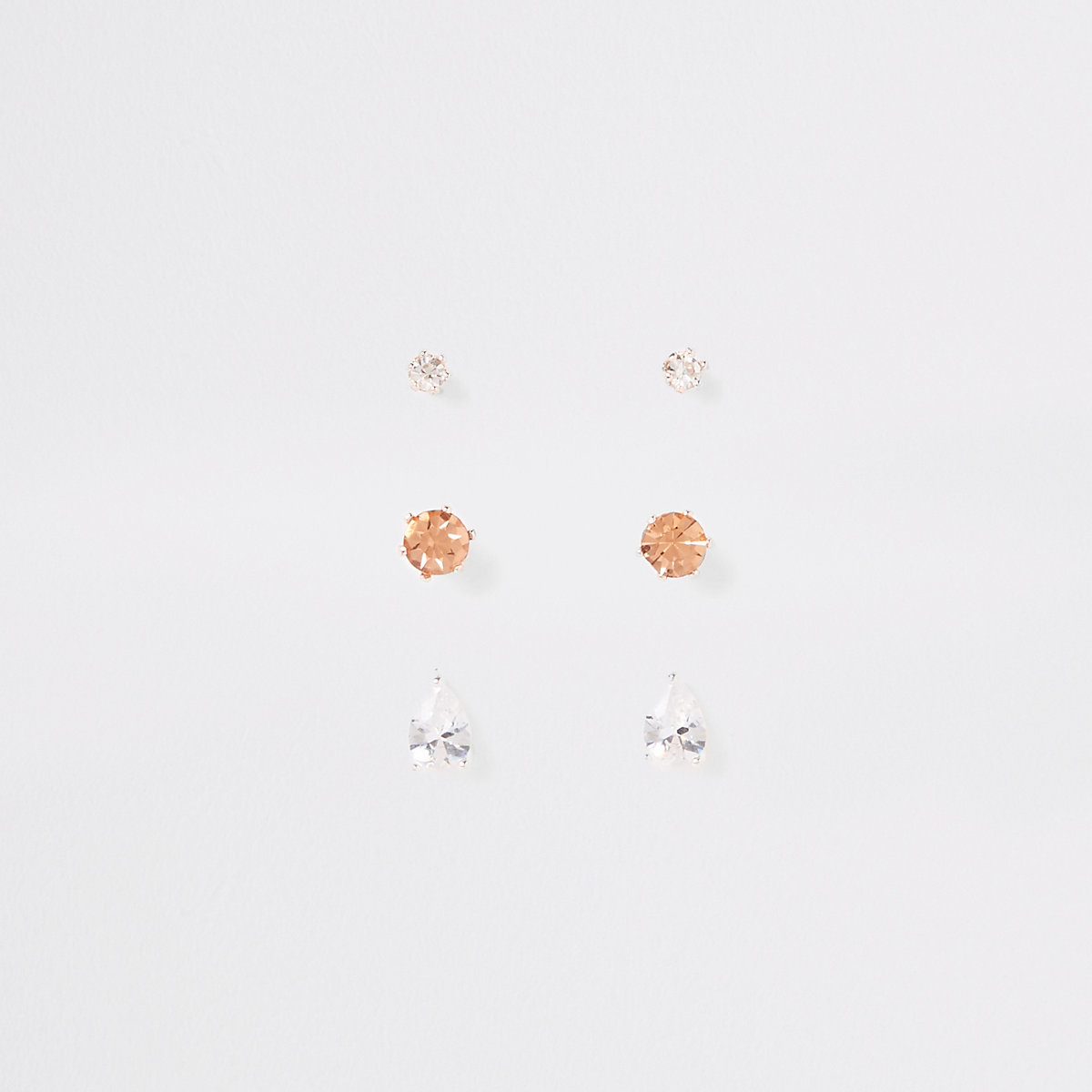 Mixed diamante stud earring multipack