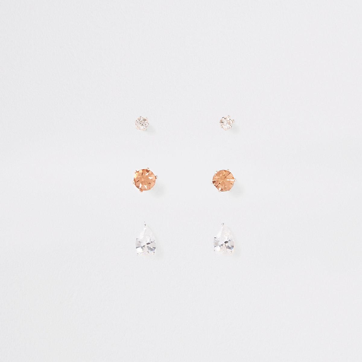 Mixed rhinestone stud earring multipack