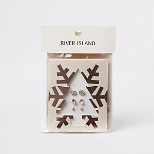 Gold tone stud earring Christmas tree pack