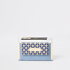 Light blue geo print mini foldout purse
