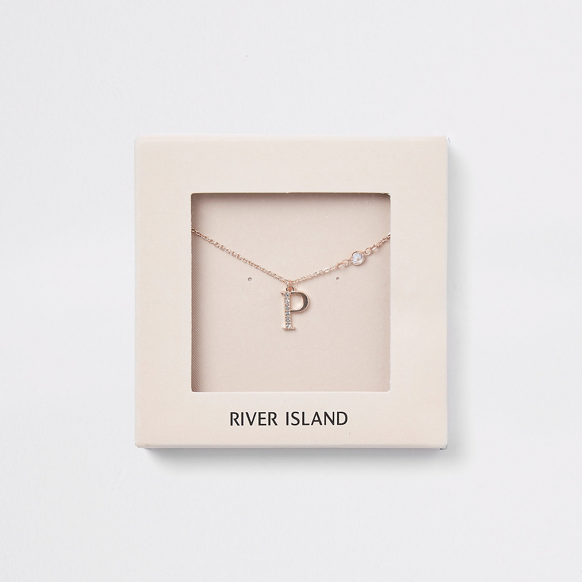 Rose gold color 'P' initial necklace