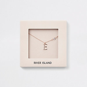 Rose gold color 'E' initial necklace