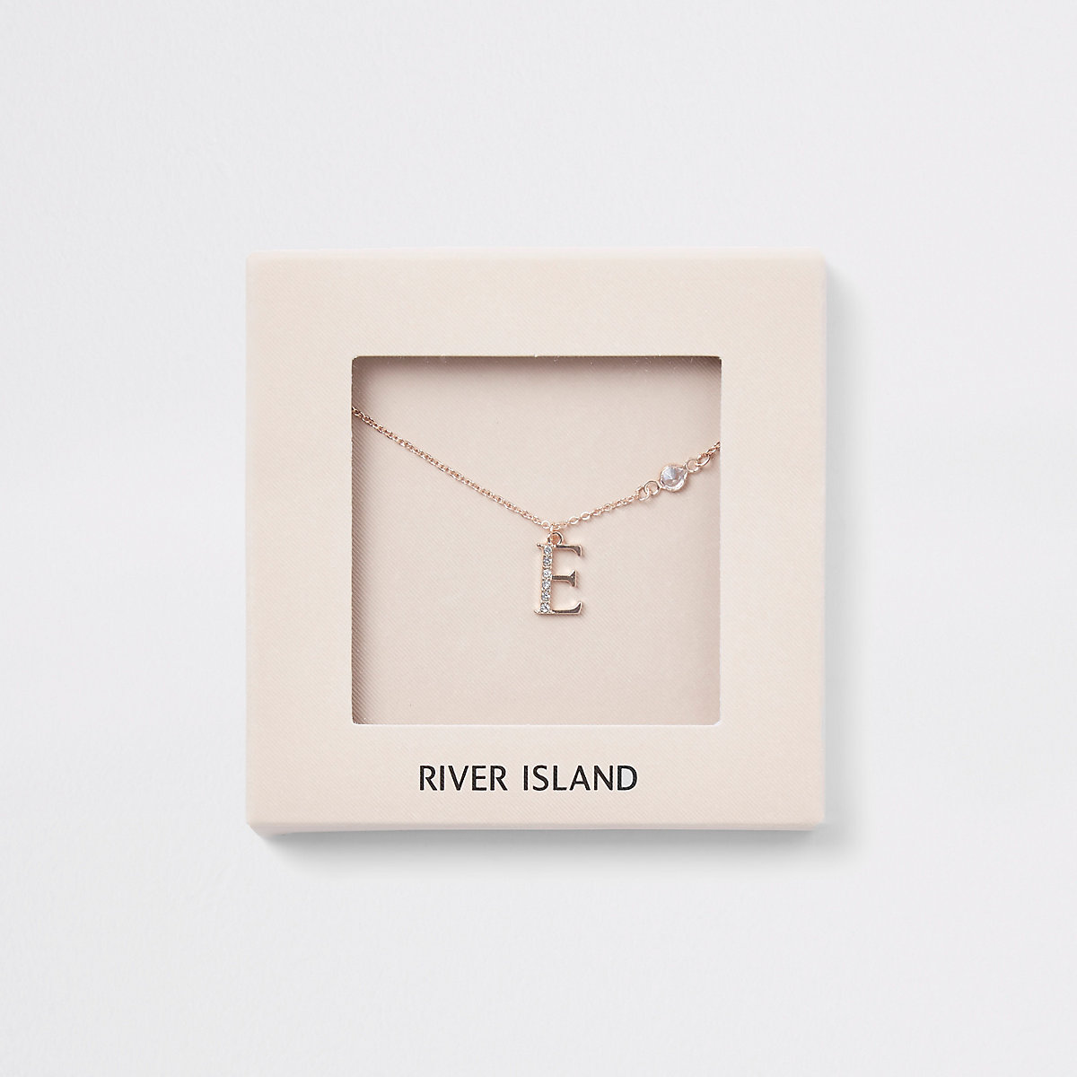 Rose gold colour 'E' initial necklace