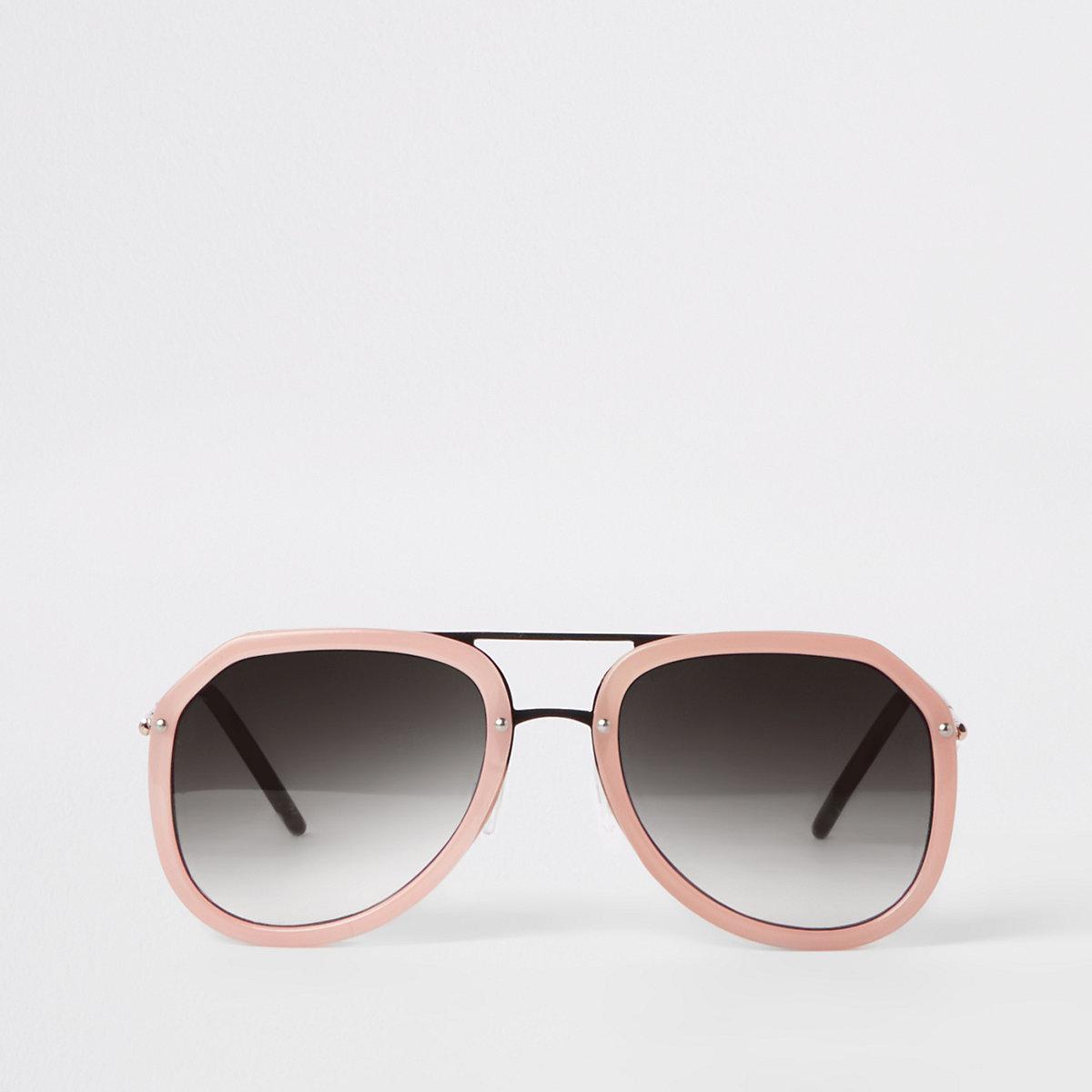 Pink smoke lens aviator sunglasses