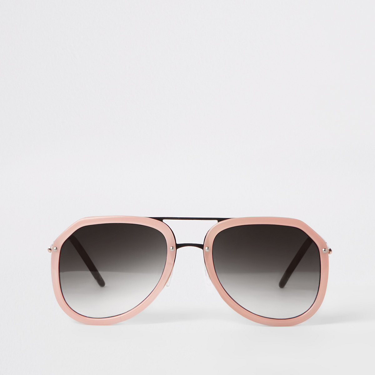 Pink smoke lens aviator sunglasses