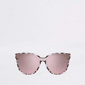 Grey print mirror lens sunglasses