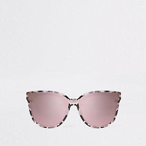 Grijze zonnebril met print en spiegelglazen