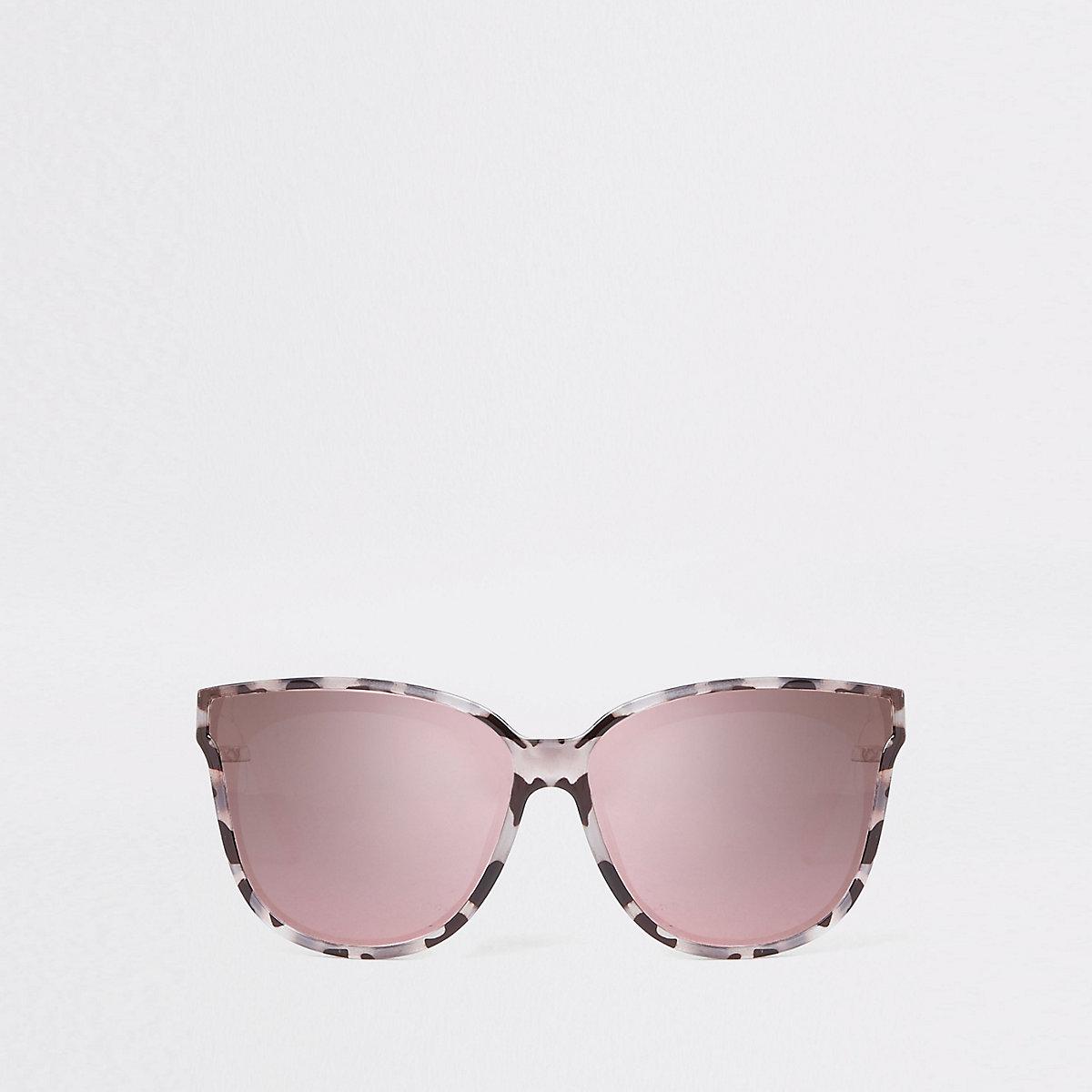 Grey print mirror lens sunglasses