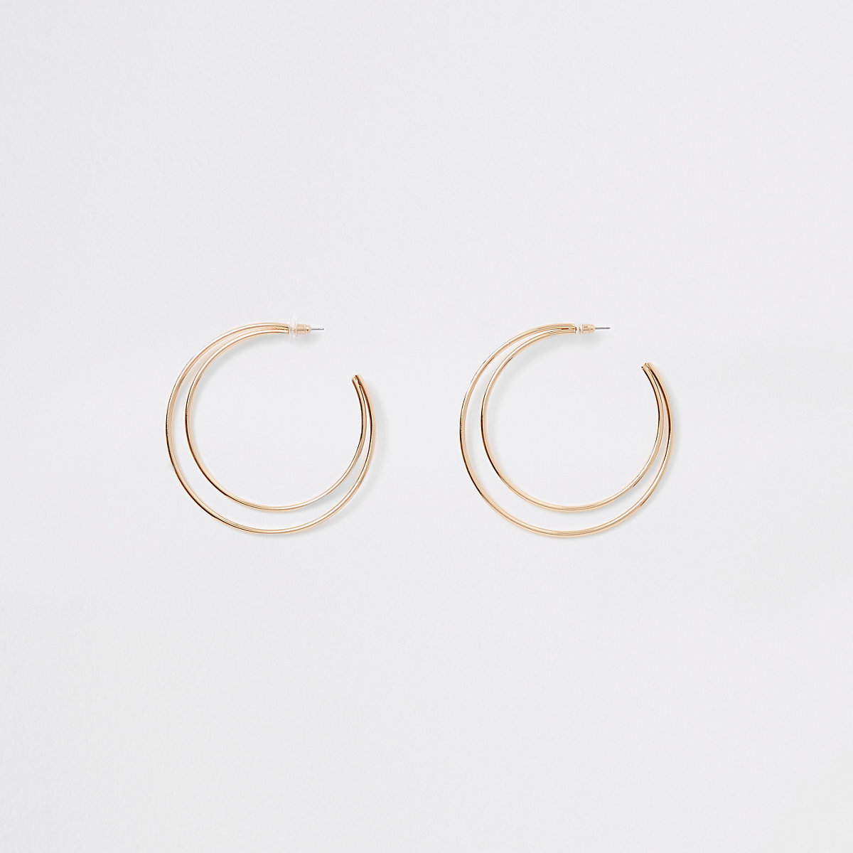 Gold tone double layered hoop earrings