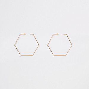 Gold colour hexagon hoop earrings