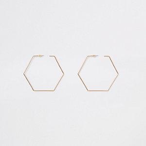 Créoles dorées hexagonales