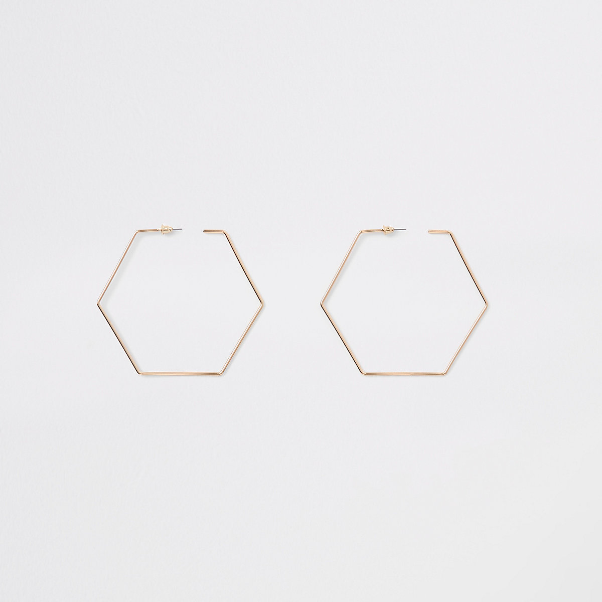 Gold tone hexagon hoop earrings