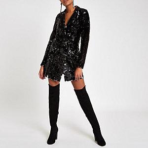 Black velvet sequin tux blazer