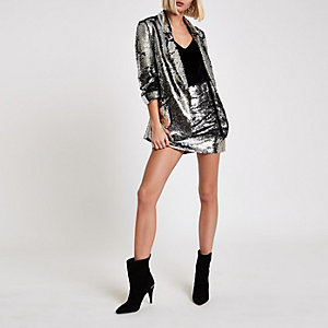 Silver sequin ruched sleeve blazer