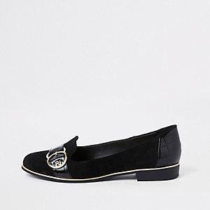 Black wide fit gold tone buckle ballet shoe