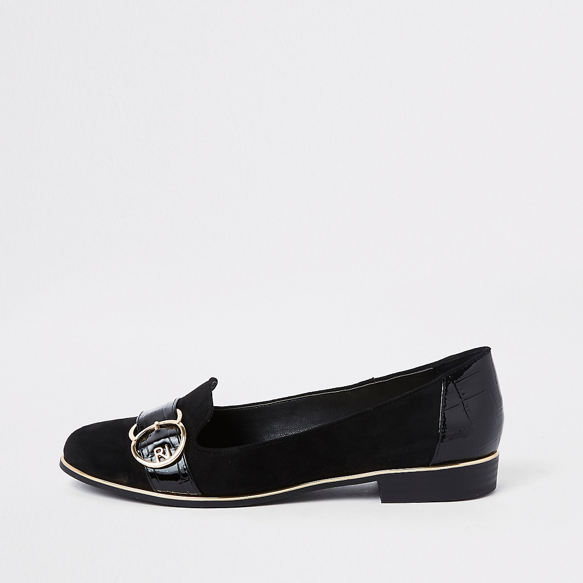 Black wide fit gold tone buckle ballet shoe