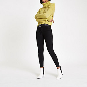 Yellow roll neck knit sweater