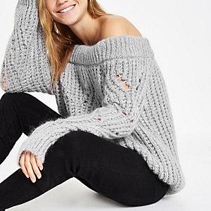 Hellgrauer Bardot-Pullover aus Strick