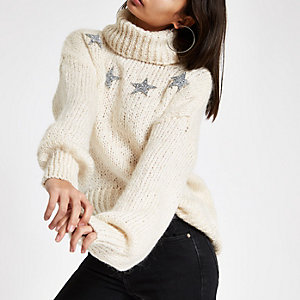 Cream sequin star roll neck sweater