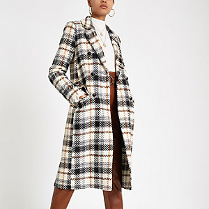 Cream check long sleeve wool coat