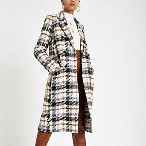 Manteau en laine manches longues à carreaux crème