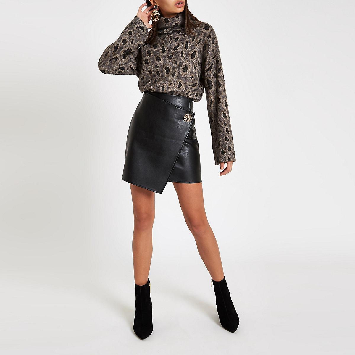 Black button side wrap mini skirt