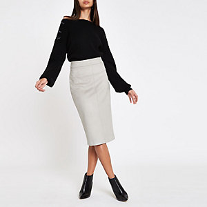 Grey faux suede pencil skirt
