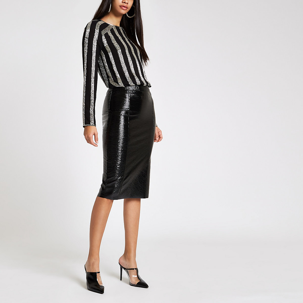 Black vinyl pencil skirt