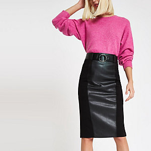 Black woven panel pencil skirt