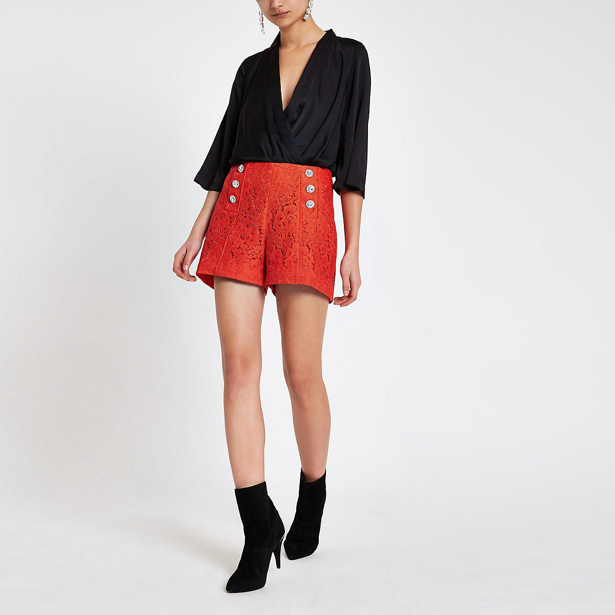 Red lace diamante button shorts